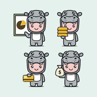 Niedliches nilpferd-maskottchen mit designillustration zum thema wirtschaft und finanzen