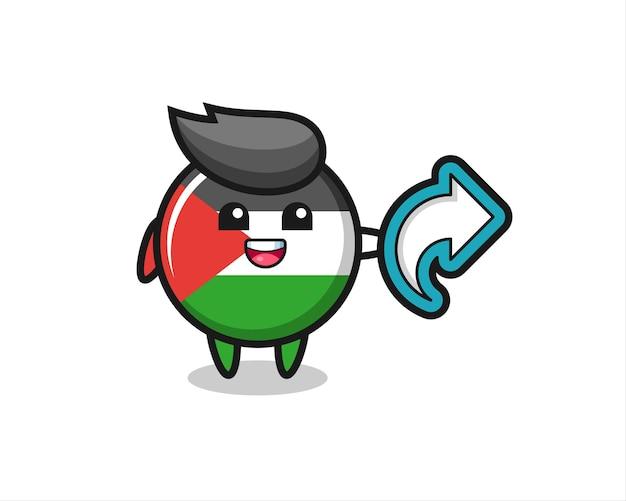 Niedliches palästina-flaggenabzeichen halten social-media-share-symbol, niedliches design für t-shirt, aufkleber, logo-element