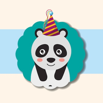 Niedliches panda-partyhut-dekorationsetikett