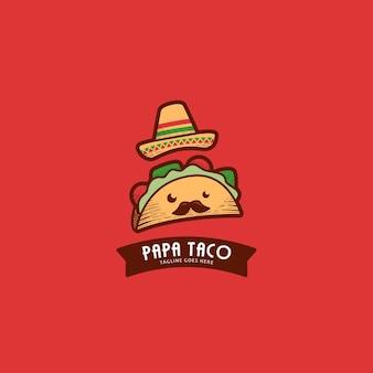 Niedliches papa-taco-maskottchen-logo mit mexikanischem hut und schnurrbart im vintage-retro-stil-schraffur