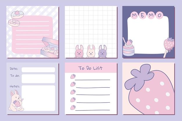 Niedliches pastell-notizblock-layout für notizen