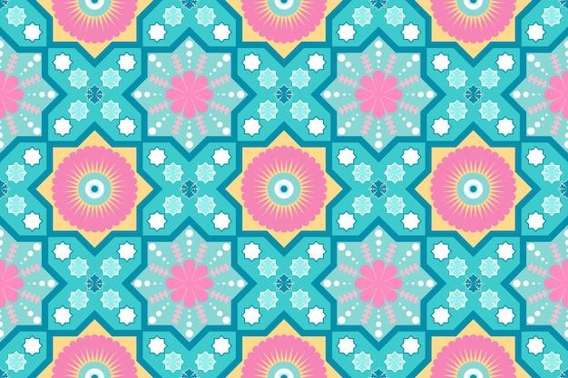 Niedliches pastellblaues rosa gelbes ethnisches geometrisches nahtloses traditionelles orientalisches mit blumenmuster. design für hintergrund, teppich, tapetenhintergrund, kleidung, verpackung, batik, stoff. vektor.
