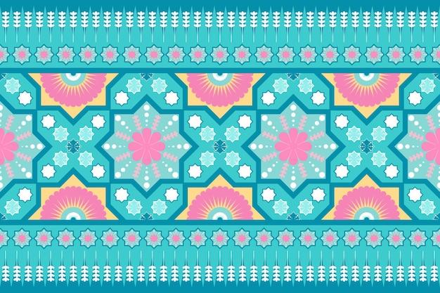Niedliches pastellblaues rosa gelbes ethnisches geometrisches nahtloses traditionelles orientalisches mit blumenmuster. grenze dekor. design für hintergrund, teppich, tapetenhintergrund, kleidung, verpackung, batik, stoff. vektor.