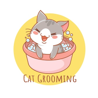 Niedliches pflegekatzen-haustierpflege-cartoon-logo