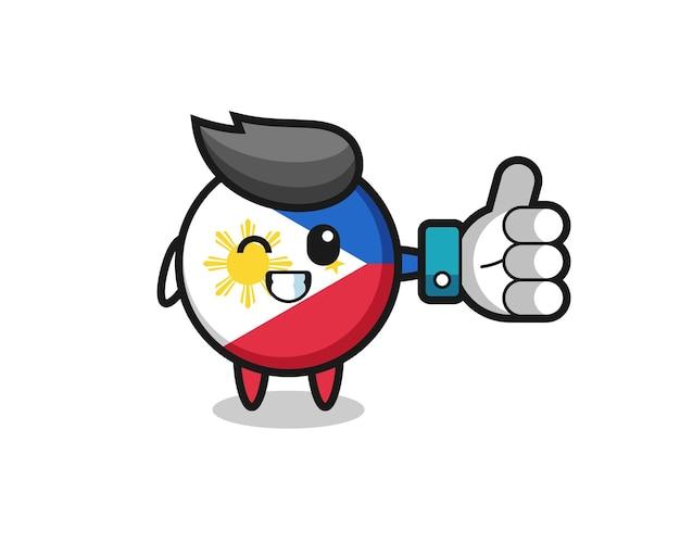 Niedliches philippinen-flaggenabzeichen mit social-media-daumen hoch symbol, niedliches design für t-shirt, aufkleber, logo-element