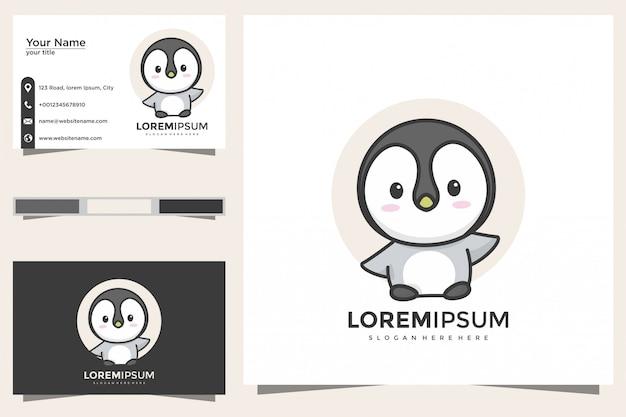 Niedliches pinguin-logo und visitenkarte