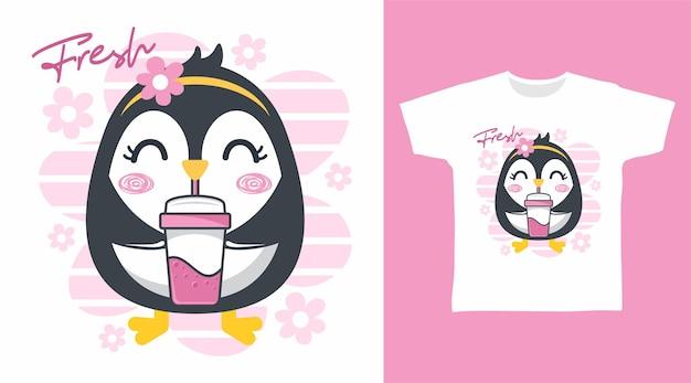Niedliches pinguin-t-shirt-design
