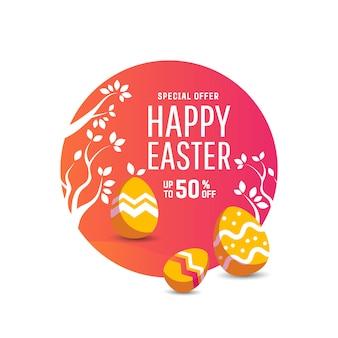 Niedliches poster für ostereiersuche mit farbigen eiern