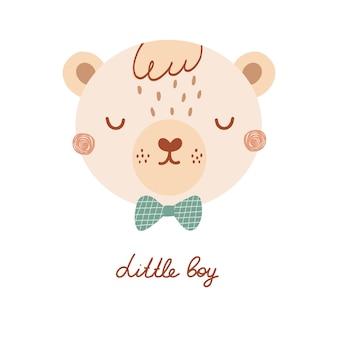 Niedliches poster mit gesicht wildbären gentleman im flachen stil für kinder. schriftzug kleiner junge. illustration mit tier in pastellfarben. druck für kinderkleidung und textilien. vektor