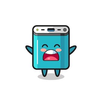 Niedliches powerbank-maskottchen mit einem gähnenden ausdruck, süßes design für t-shirt, aufkleber, logo-element