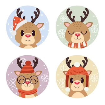 Niedliches rentier im kreis für weihnachtsferien
