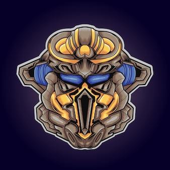 Niedliches roboterspiel-logo-maskottchen