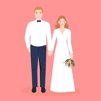 Niedliches romantisches paar im hochzeitskleid für hochzeitseinladungskarte