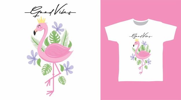 Niedliches rosa flamingo-t-shirt-design