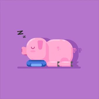 Niedliches rosa schlafendes schwein
