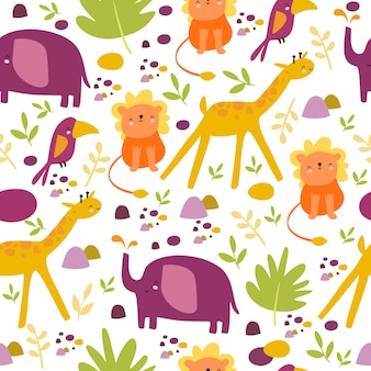Niedliches safari-muster afrika