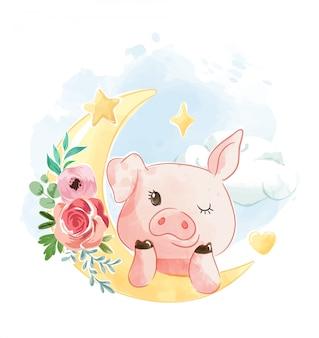 Niedliches schwein auf der geblühten verzierten mondillustration