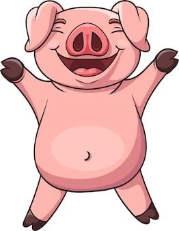 Niedliches schwein der karikatur, das die hände hebt