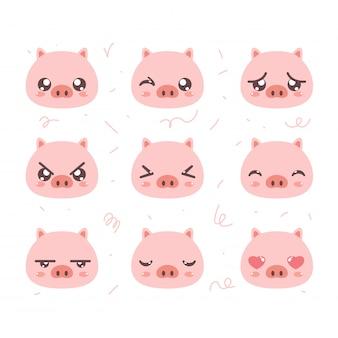 Niedliches schwein emoticon set