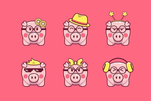 Niedliches schwein-illustrationsset mit verschiedenen accessoires und ausdrücken