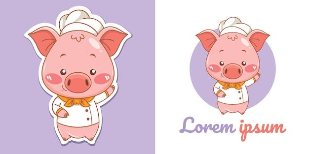 Niedliches schwein-koch-cartoon-charakter-maskottchen