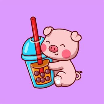 Niedliches schwein mit bubble milk tea cartoon vektor icon illustration. tier trinken symbol konzept isoliert premium-vektor. flacher cartoon-stil