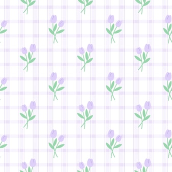 Niedliches sich wiederholendes muster der niedlichen lila tulpenblume, tapetenhintergrund, niedlicher nahtloser musterhintergrund