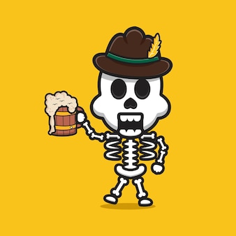 Niedliches skelett feiern oktoberfest-cartoon-symbol illustration. entwerfen sie isolierten flachen cartoon-stil