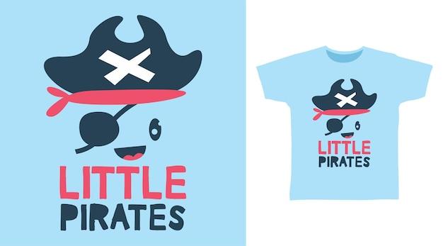 Niedliches t-shirt design des kleinen kraken-piraten