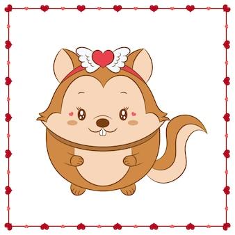 Niedliches tierbaby eichhörnchenzeichnung des glücklichen valentinstags mit herzrahmen