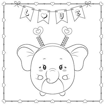 Niedliches tierbaby-elefantenzeichnungsskizze des glücklichen valentinstags zum färben mit herzrahmen und liebesbanner Premium Vektoren