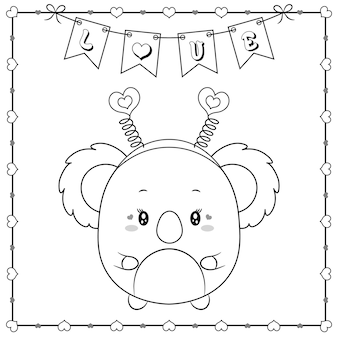 Niedliches tierbaby-koala-zeichnungsskizze des glücklichen valentinstags zum färben mit herzrahmen und liebesbanner