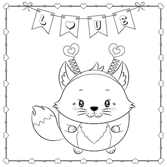 Niedliches tierbabyfuchs-zeichnungsskizze des glücklichen valentinstags zum färben mit herzrahmen und liebesbanner