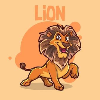 Niedliches tierbabys löwe große katze affe tiermaskottchen cartoon logo charakter editierbar