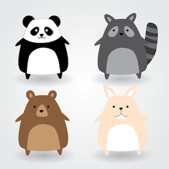 Niedliches tierset einschließlich panda, frettchen, bär, hase. vektor-illustration.