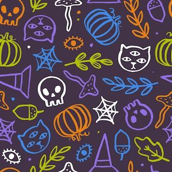 Niedliches und trendiges halloween nahtloses muster. gezeichnete gekritzelillustration des vektors hand