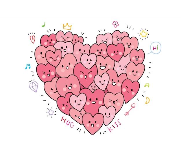 Niedliches valentinstaggekritzel der karikatur viele herzaktionen.