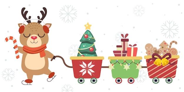 Niedliches weihnachtsrentier mit einem weihnachtszugspielzeug im flachen stil.