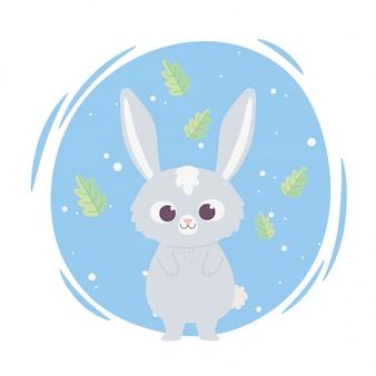 Niedliches wildes kleines kaninchen des niedlichen wilden zeichentrickfilmtiers Premium Vektoren