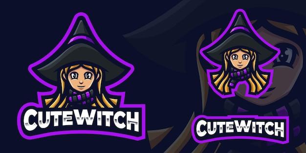 Niedliches witch gaming maskottchen logo für esports streamer und community