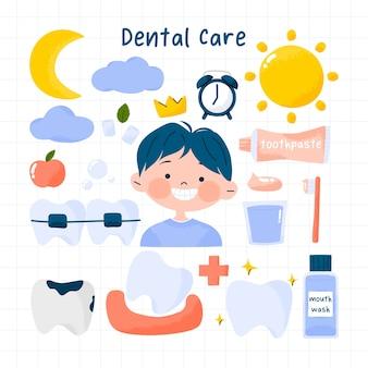 Niedliches zahnarztset für zahnpflegehygiene und gesunde zähne mit kind und ausrüstung