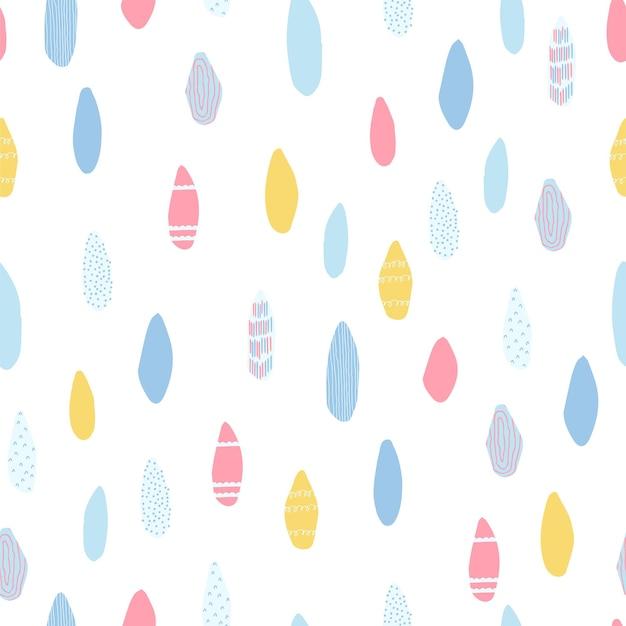 Niedliches, zartes nahtloses muster mit regentropfen auf weißem hintergrund in pastellfarben. illustration für kinderzimmergestaltung, tapeten, textilien, stoff, verpackungspapier. vektor