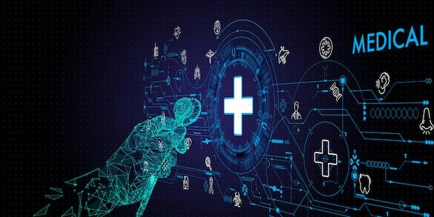 Niedrige polygon doktorhand mit der stethoskop- und ui-ikone medizinisch im krankenhaus mit medizintechniknetzkonzept.