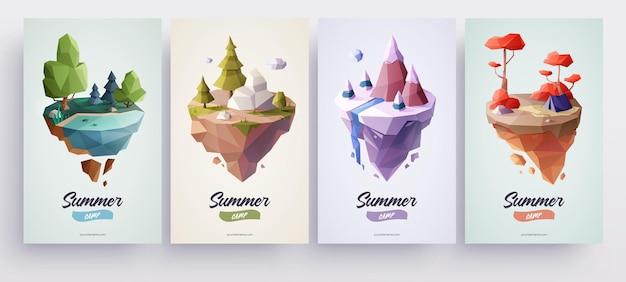 Niedrige polygonale geometrische naturinseln vector illustration low-poly-stil