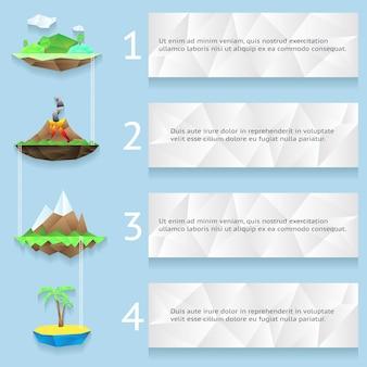 Niedrige polyinseln mit schritten und zahlen infografik mit vier schritten
