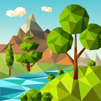Niedrige polylandschaft. naturgrüne bäume pflanzen wolken himmel im freien feld blumen vektor cartoon. niedrige umweltlandschafts-, wolken- und gebirgsillustration