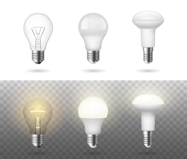 Niedrigenergie fluoreszierende halogen- und glühlampen realistisch eingestellt