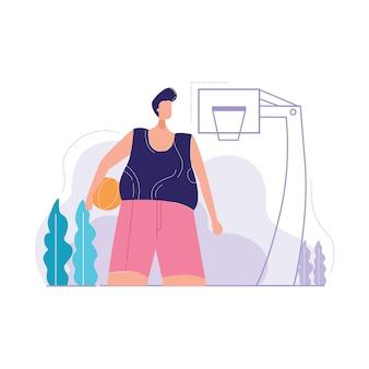 Niedriger ansicht-mann, der basketballvektorillustration hält