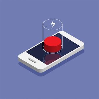 Niedriger batteriestatus. isometrisches smartphone muss aufgeladen werden. datenbankspeichergerätekonzept. illustration.