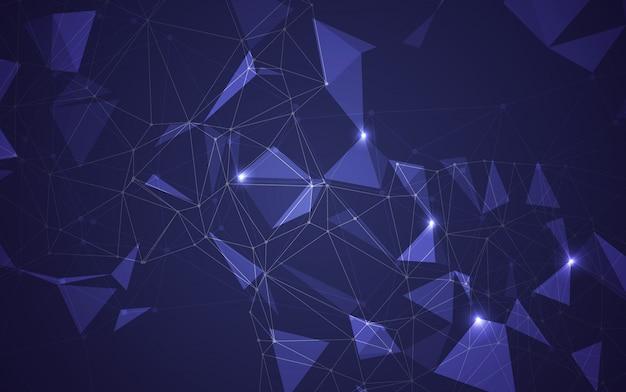 Niedriger dunkler polyhintergrund des abstrakten polygonalen raumes mit verbindungspunkten und linien. verbindungsstruktur. vektorillustrator